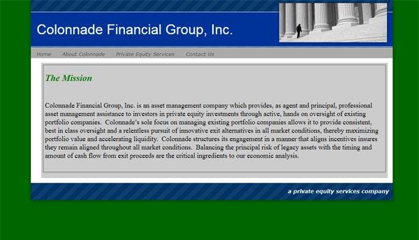 Colonnade old website screenshot