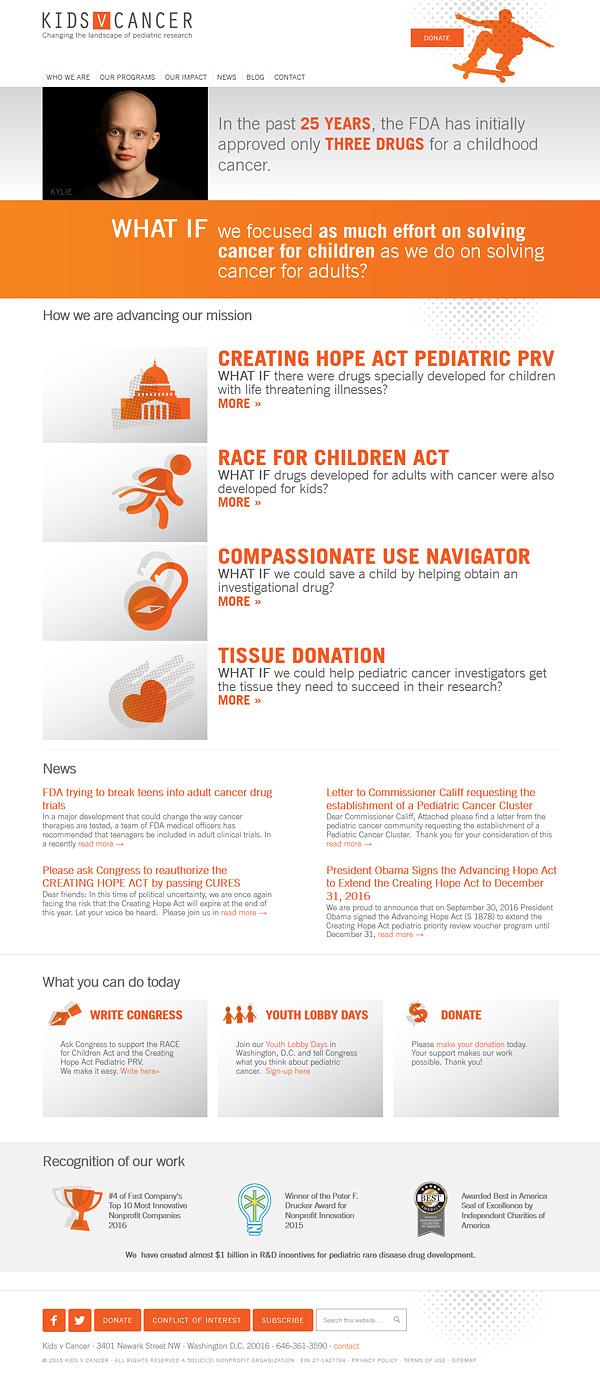 Kids v Cancer website